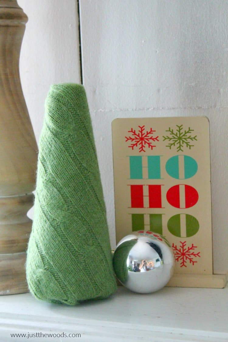 how to make homemade christmas decor, upcycled sweater