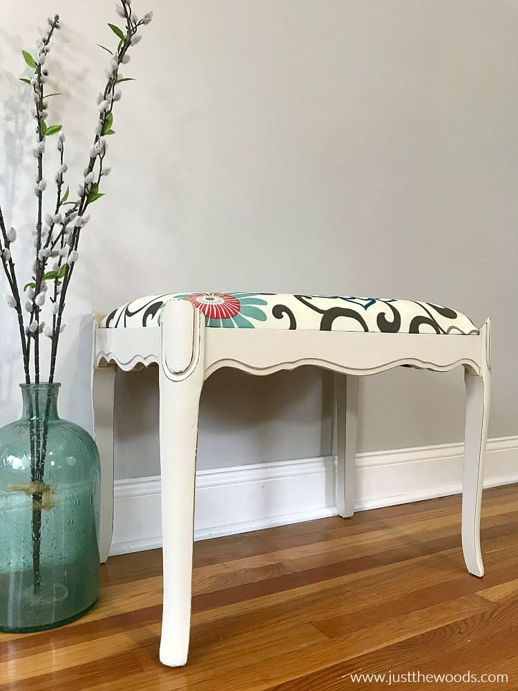 off white chalk paint with new fabric cushion