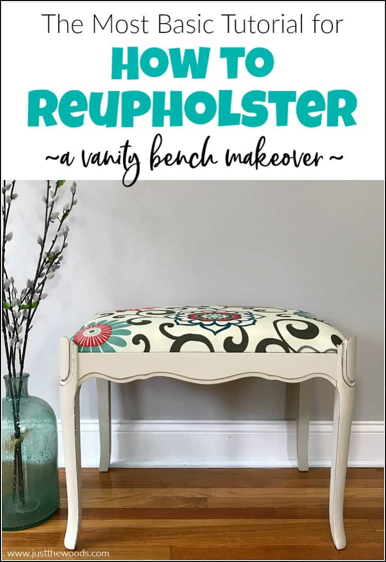 The Most Basic Tutorial for How to Reupholster - a Vanity Bench Makeover