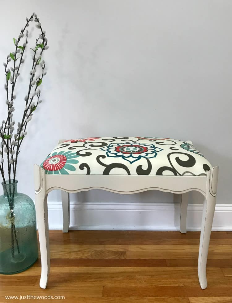 painted vanity bench with reupholster seat