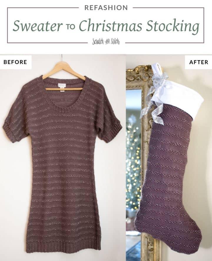 Sweater to Christmas Stocking Refashion