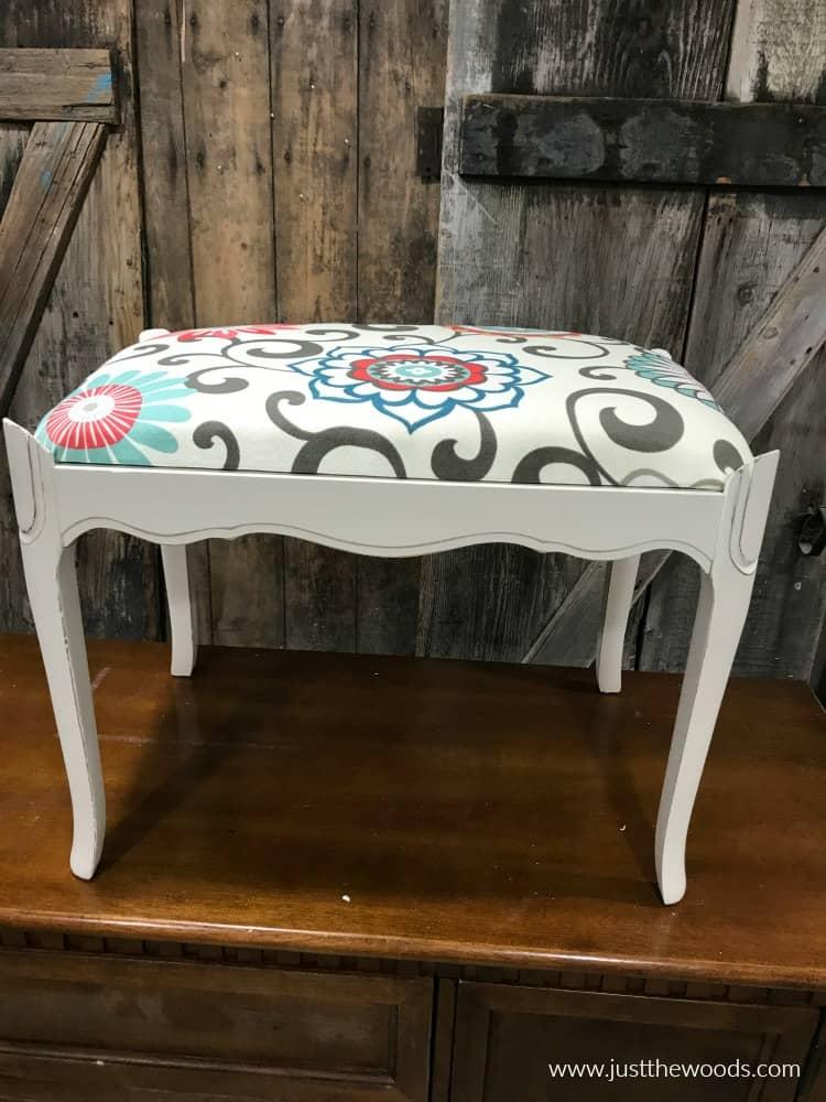 white painted vanity seat