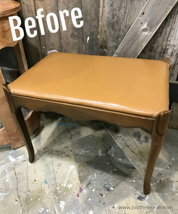 vanity bench with orange leather