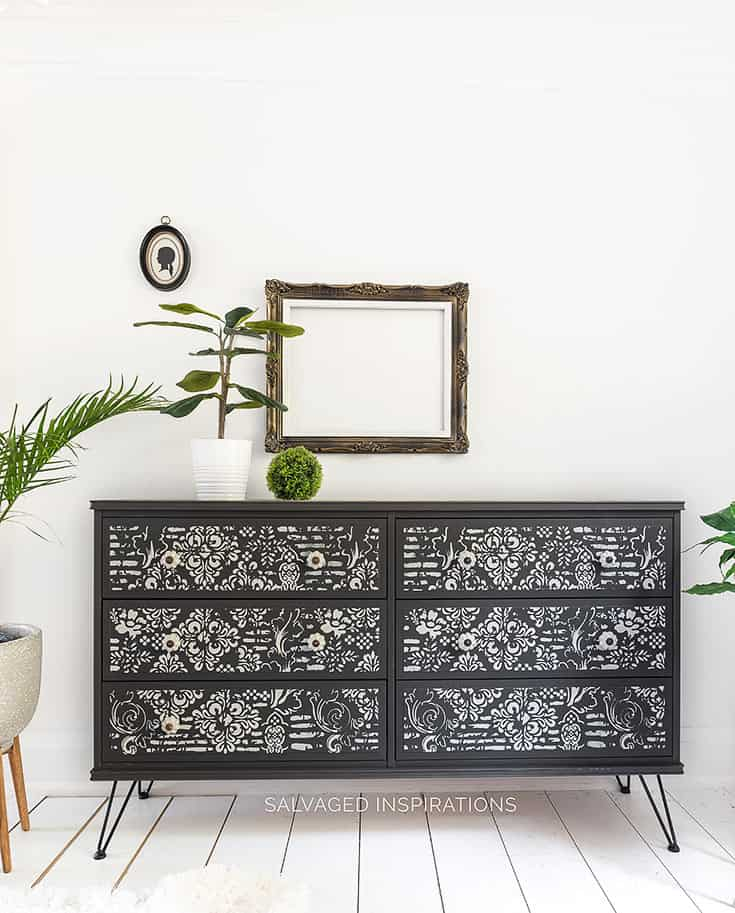 Black Chalk Painted IKEA Dresser Hack