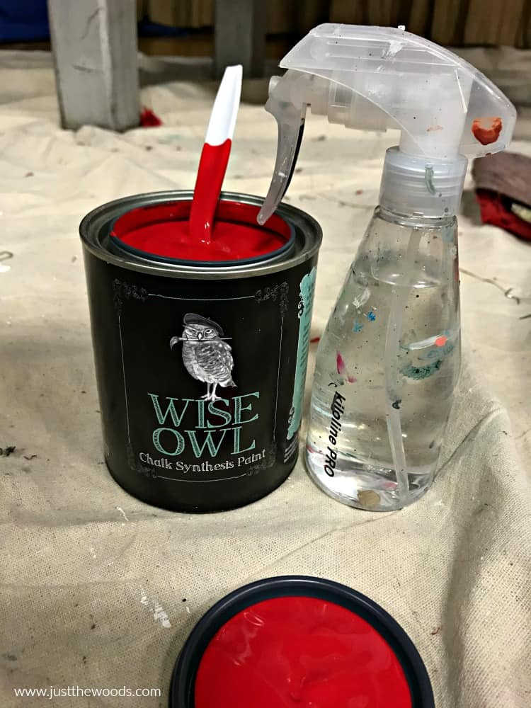 red chalk paint, wise owl veronica vaughn red paint, water spritzer