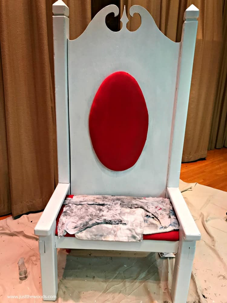 white paint for wood chair, red painted fabric cushion