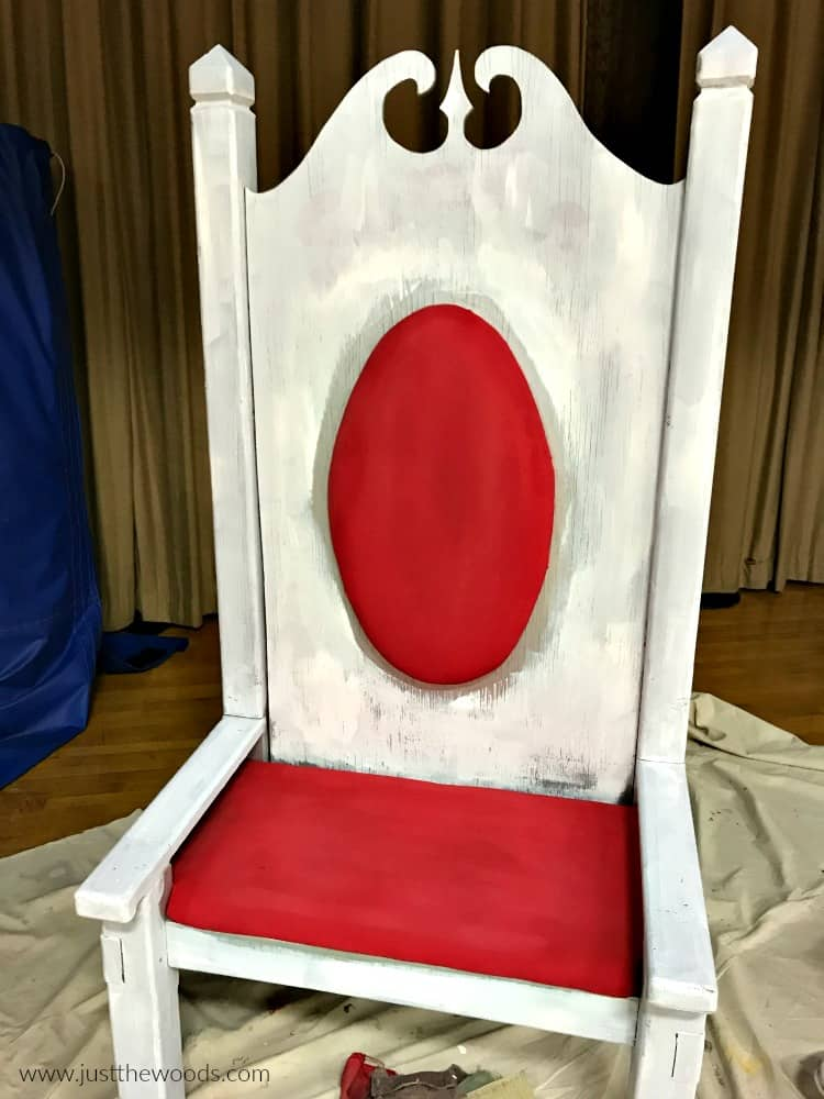 white primer on wooden furniture, primer on chair, painting a chair white with red fabric