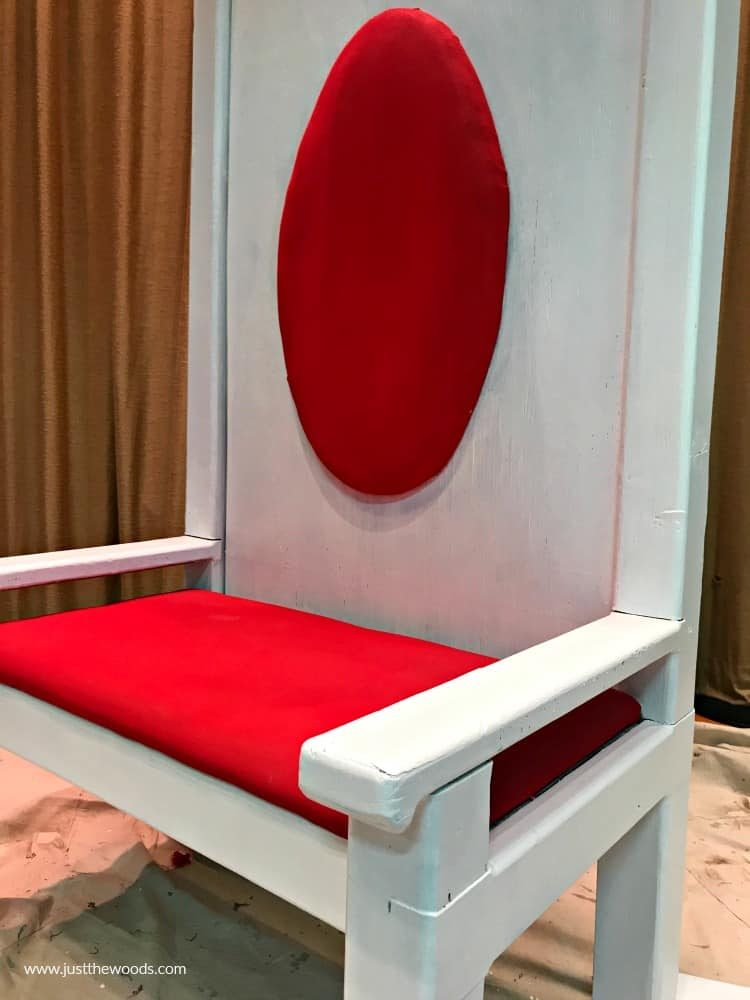 bright red fabric paint with crisp white furniture paint on chair makeover