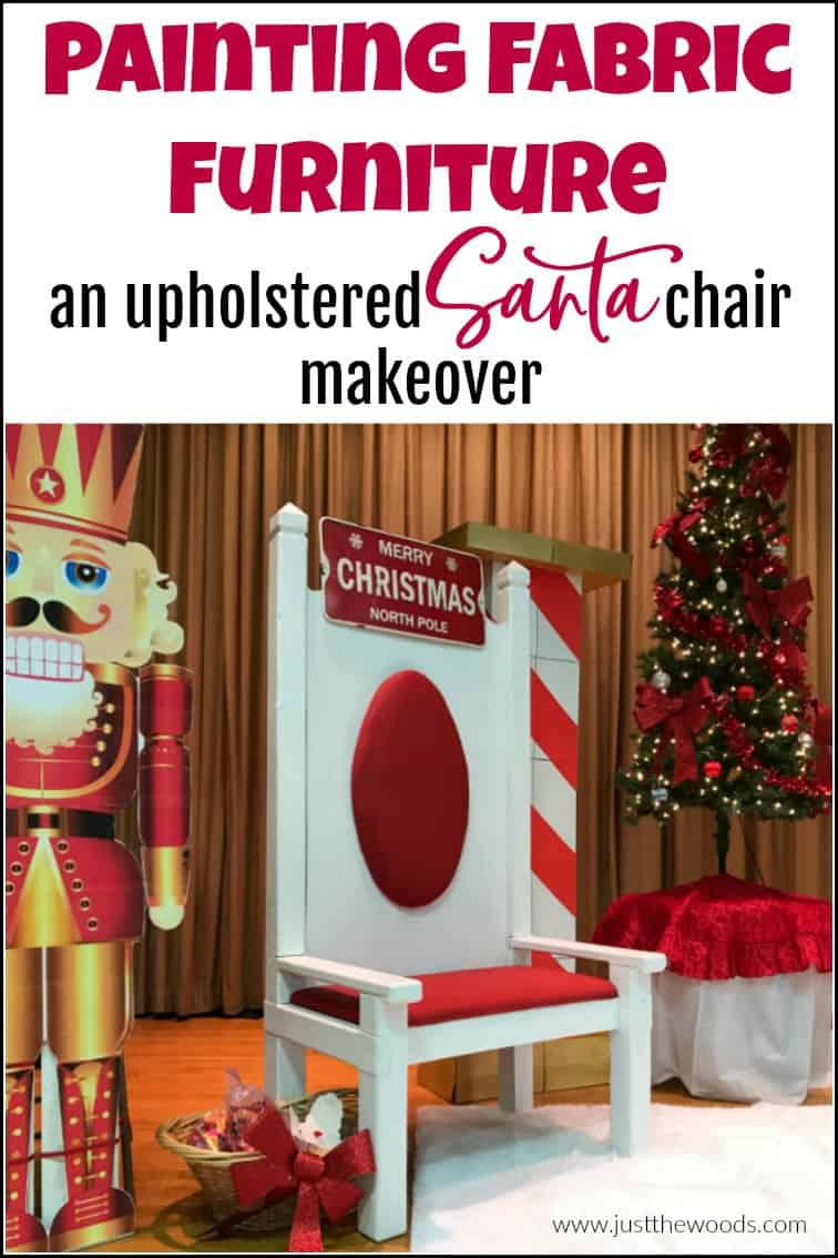 white painted santa chair with christmas tree and nutcracker pin image