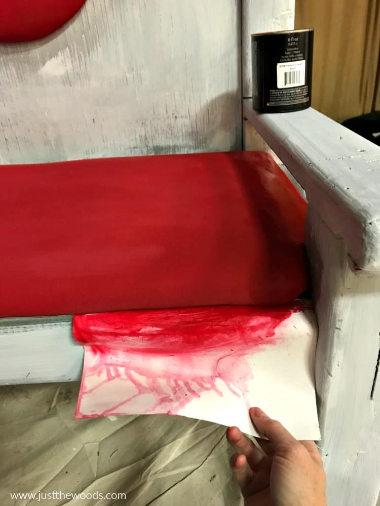 wet fabric paint, painting fabric chairs, dripping red paint