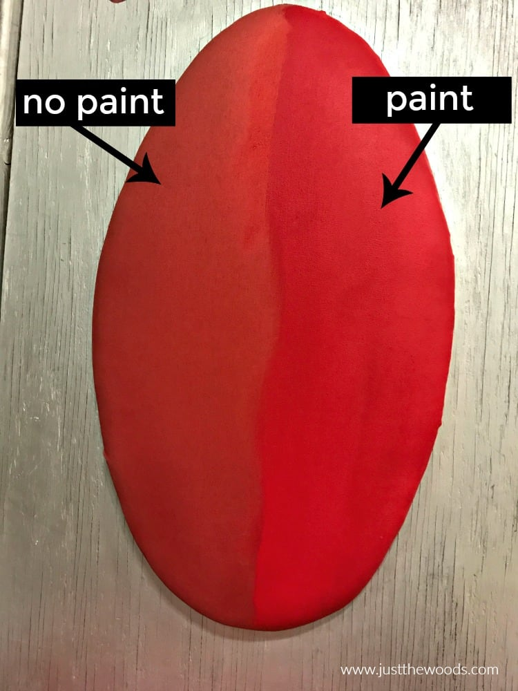 painting fabric with chalk paint, paint and no paint comparison