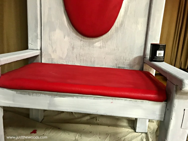 painting red fabric and white wood chair