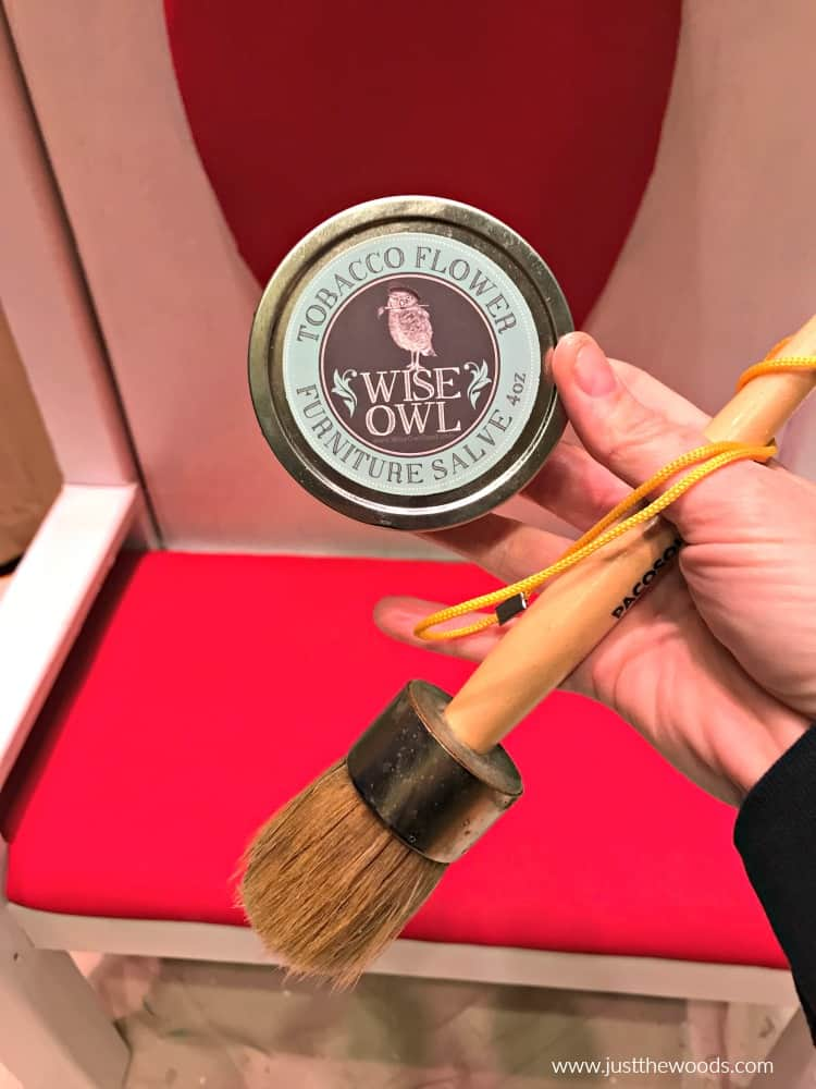 wise owl furniture salve, tobacco flower furniture salve, wax brush, how to seal painted fabric