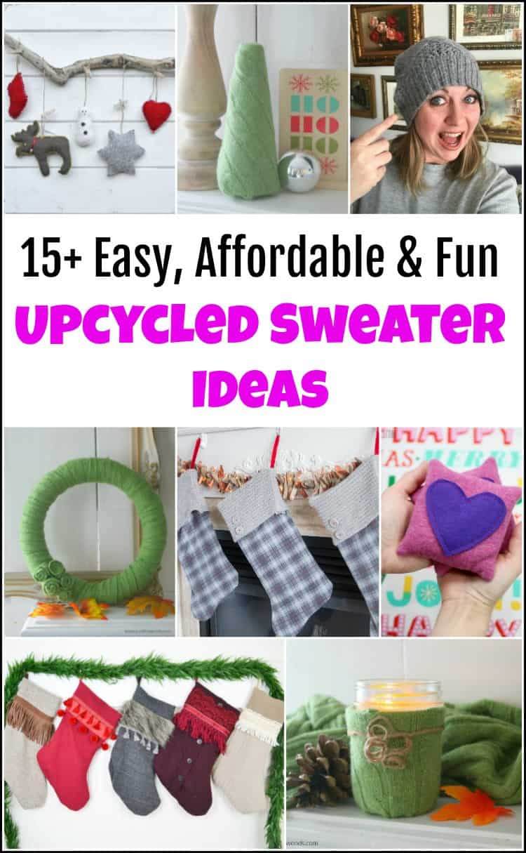 Check out these easy upcycled sweater ideas. There are so many fun ways to use old sweaters and turn them into something new. Here are a few ideas for things to do with old sweaters. Turn your old sweaters into a cozy hat, mittens or even DIY ornaments. #upcycledsweaters