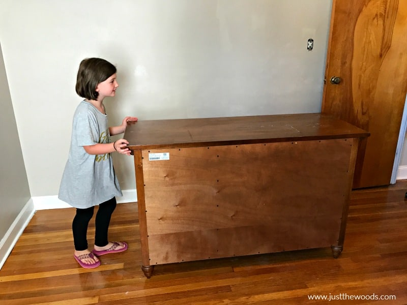 painting a wooden dresser, brown wood dresser