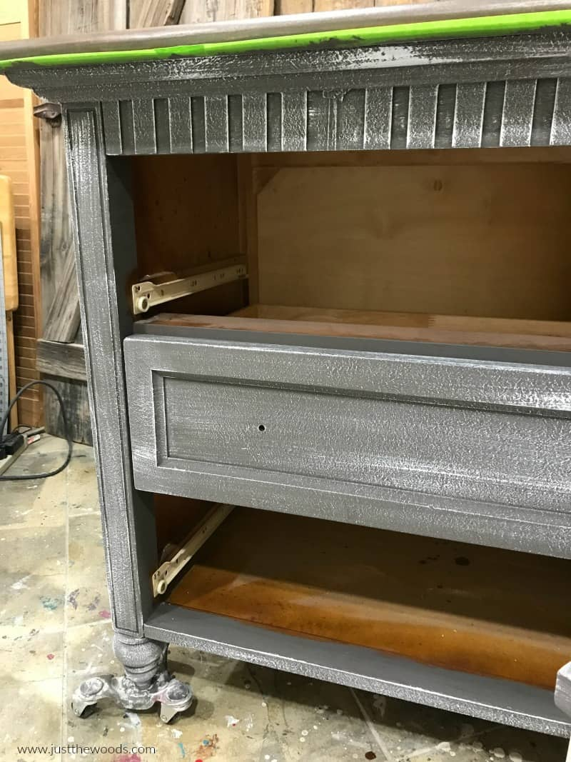 dry brush paint on furniture, gray painted dresser with light dry brush