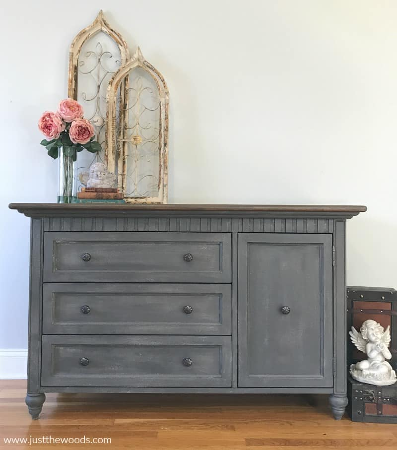 gray painted dresser with brown stain top, how to paint a dresser tutorial