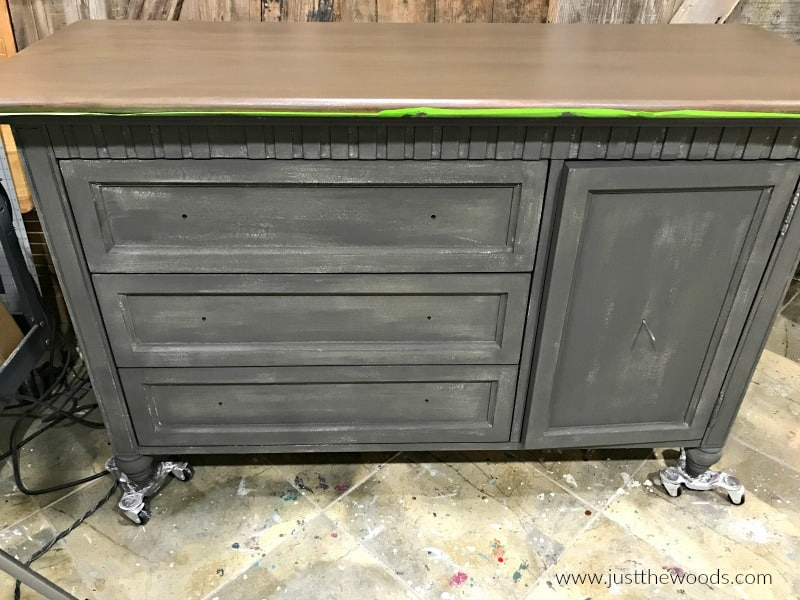 painted dresser with stain top, chalk paint and stain