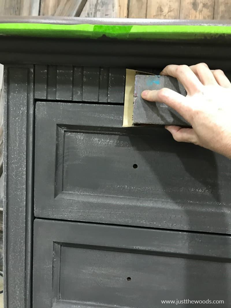 sanding painted furniture, sanding a painted dresser