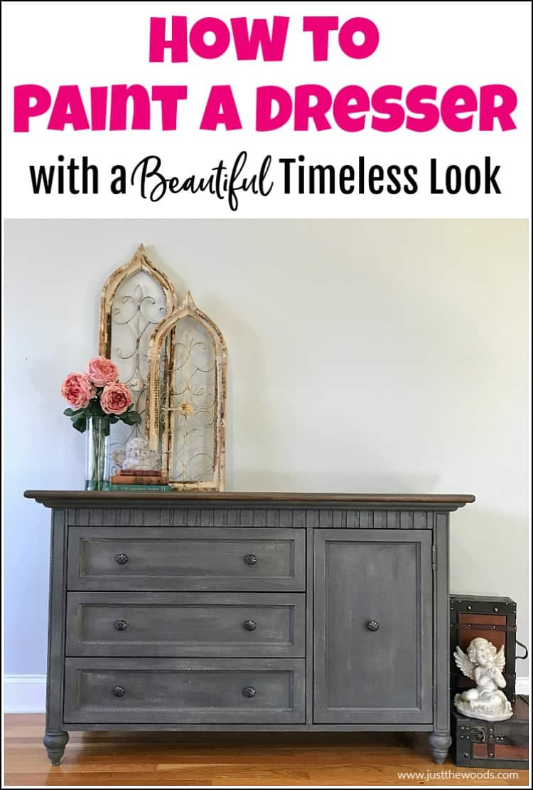 how to paint a dresser tutorial, gray painted dresser with brown stain top