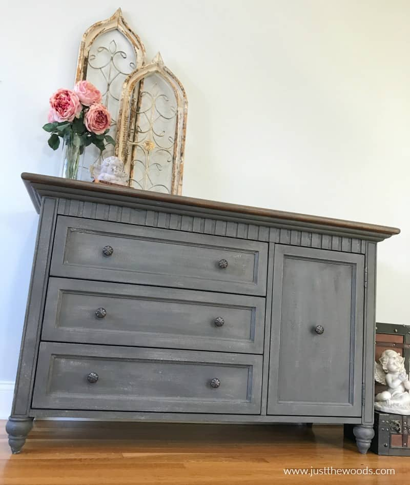 gray painted dresser with stain top