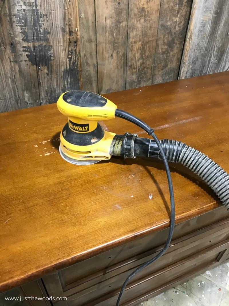sanding a wood dresser, Dewalt sander