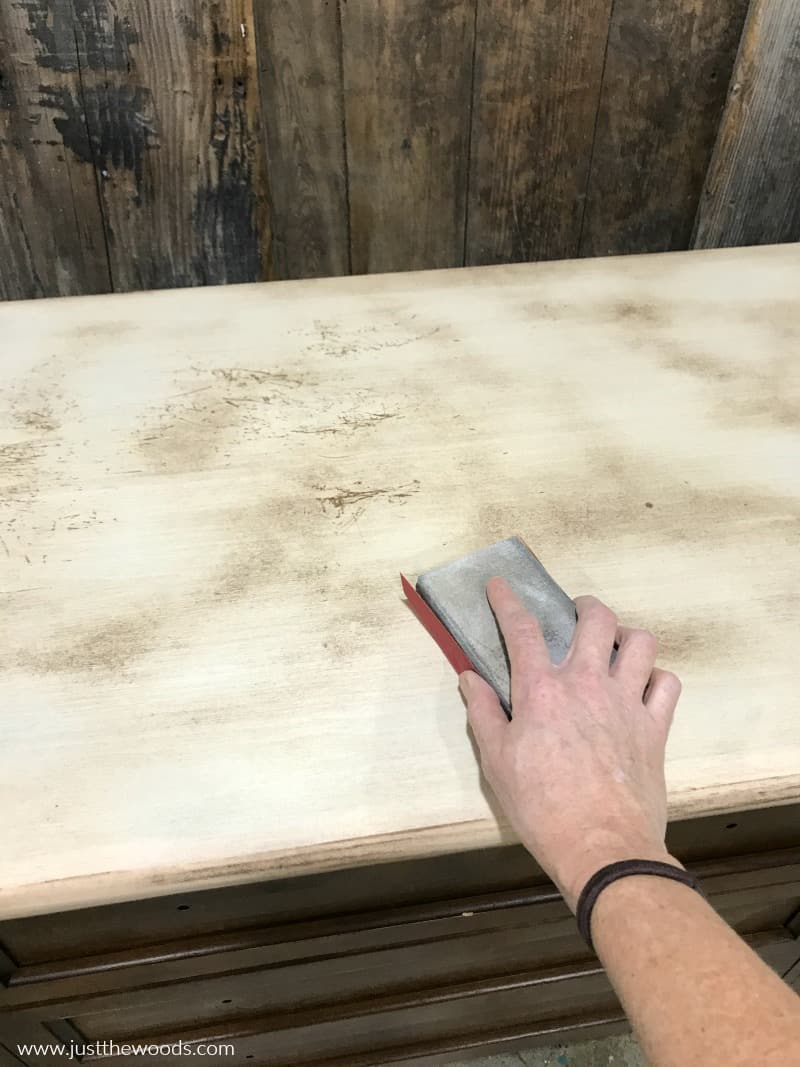 how to sand a wood dresser, sanding wood furniture