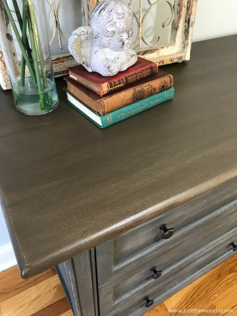 how to stain wood furniture, brown wood stain on painted dresser