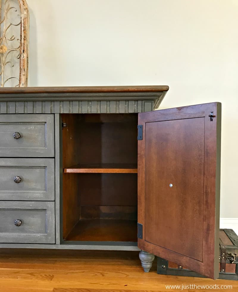 painted dresser with side cabinet open