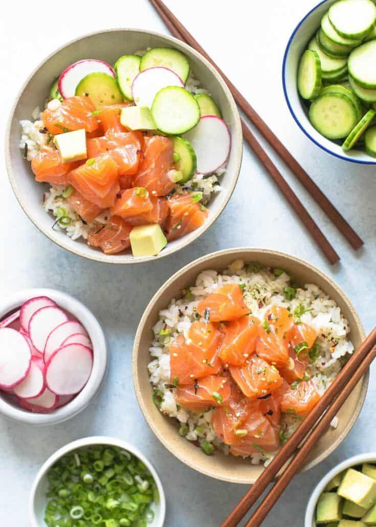 Salmon Avocado Poke Bowl Recipe | SimplyRecipes.com