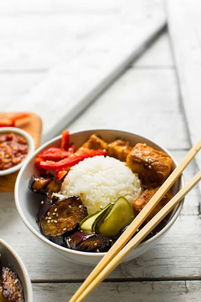 Eggplant & Almond Butter Tofu Bowl