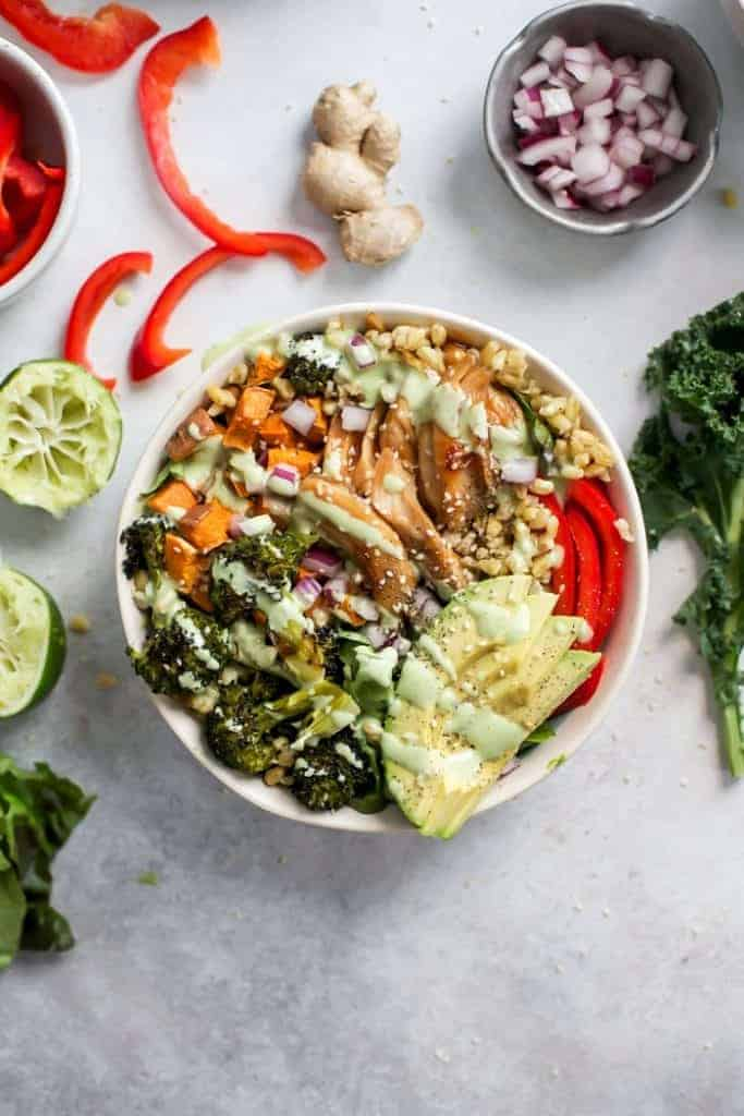 Ginger Chicken Power Bowls with Creamy Lime Dressing