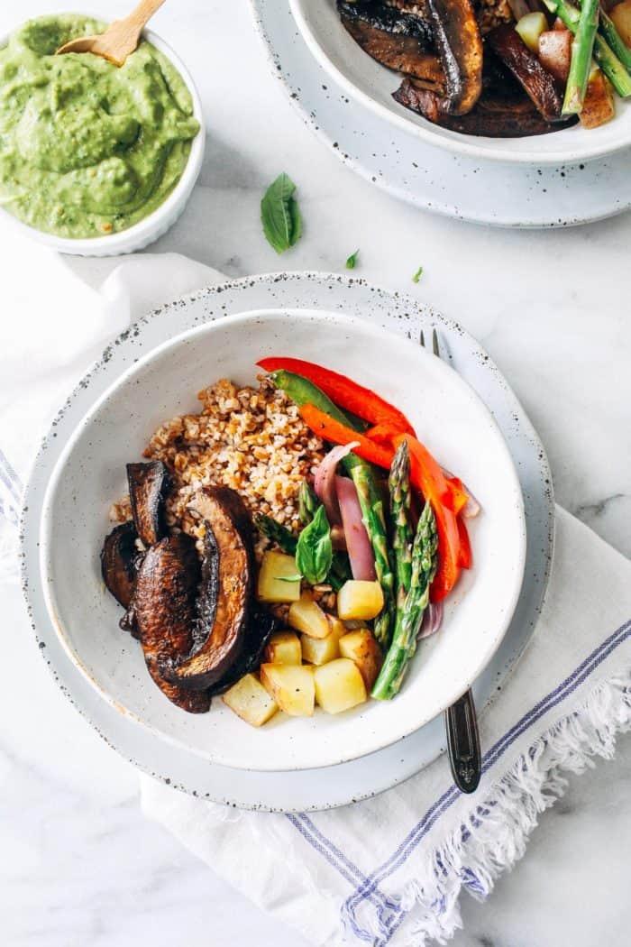 Roasted Mushroom Vegetable Bowls with Avocado Pistachio Pesto