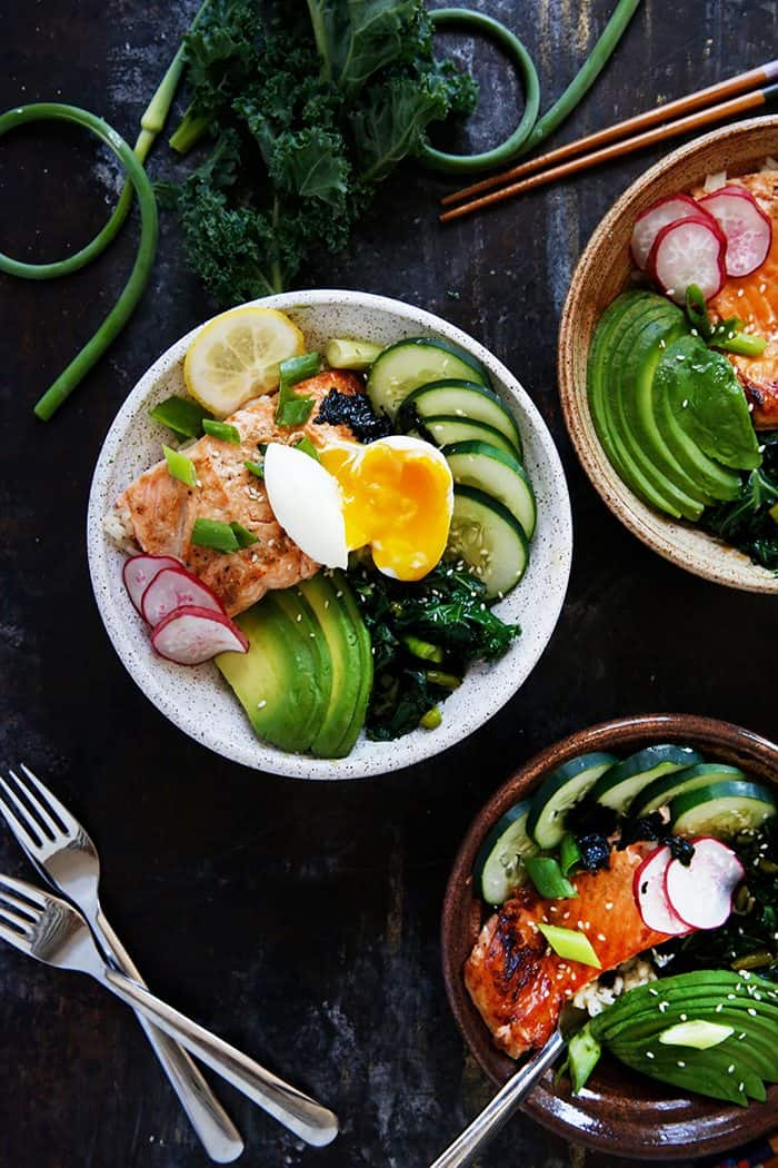 Grilled Salmon Bowl with Garlicky Kale
