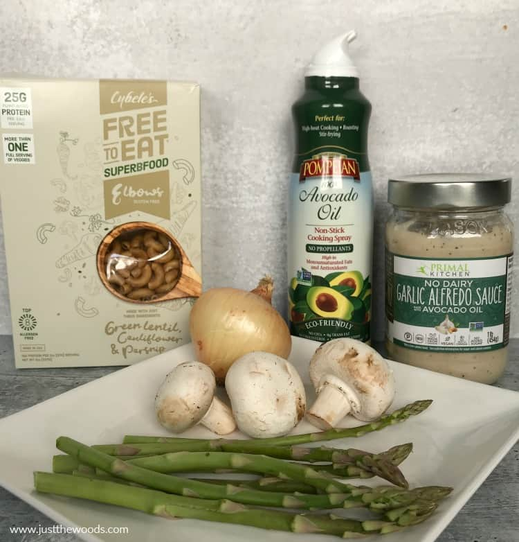 ingredients to make veggie pasta with alfredo sauce, gluten free recipe, dairy free recipe