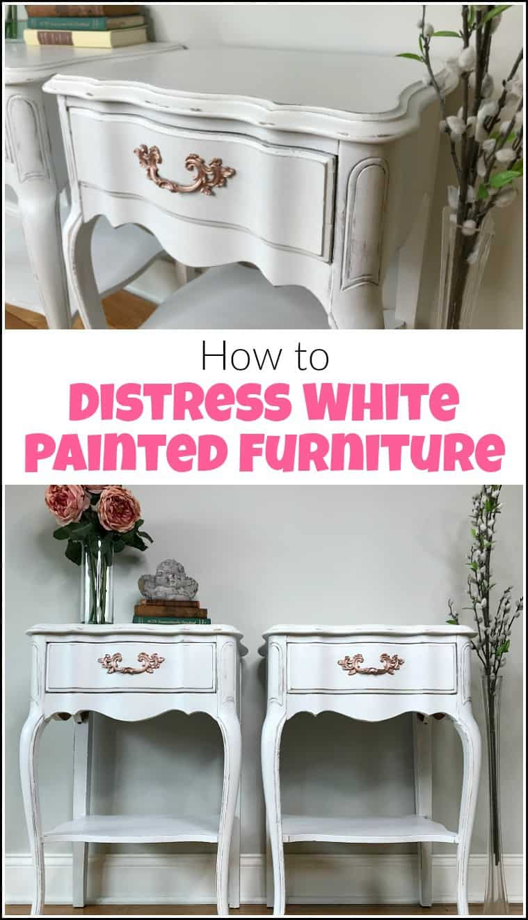 how to distress furniture white paint