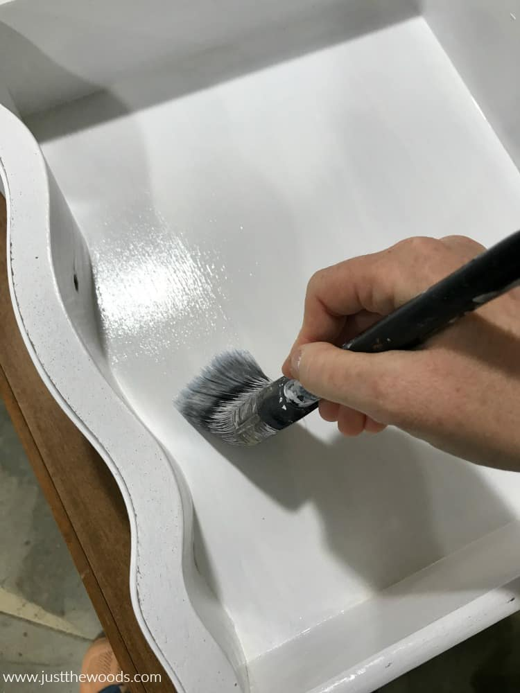 apply clear sealer inside white chalk painted drawers