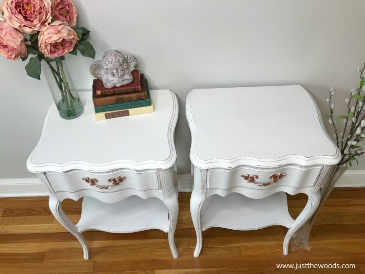 distressed furniture paint, white painted tables with rose gold hardware