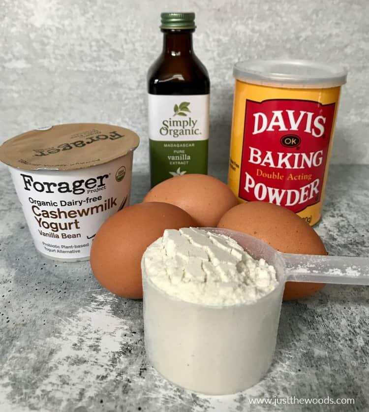 protein pancake recipe ingredients, cashew milk yogurt, protein powder, baking powder, eggs