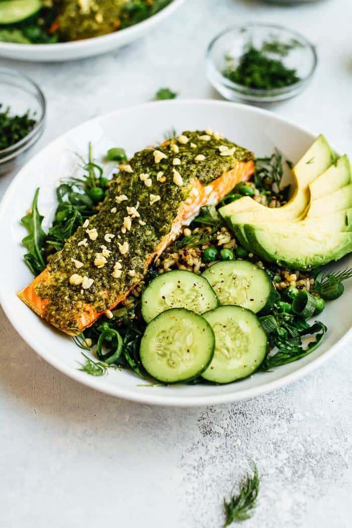 Pesto Salmon Green Goodness Bowl