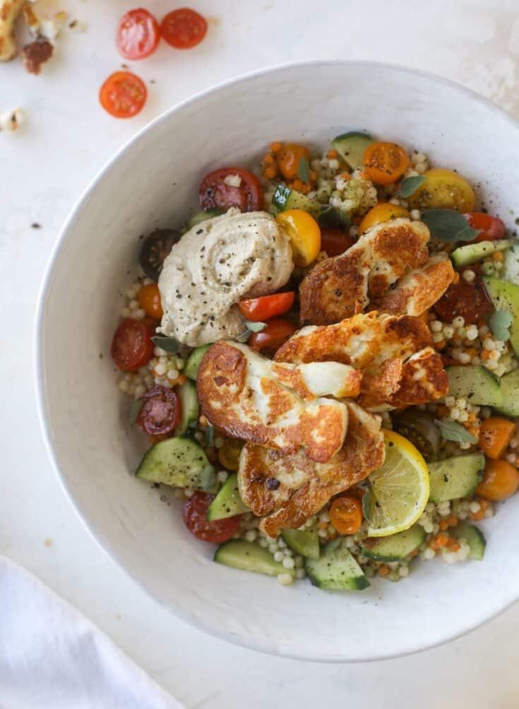 Halloumi Hummus Bowls - Halloumi Couscous Salad