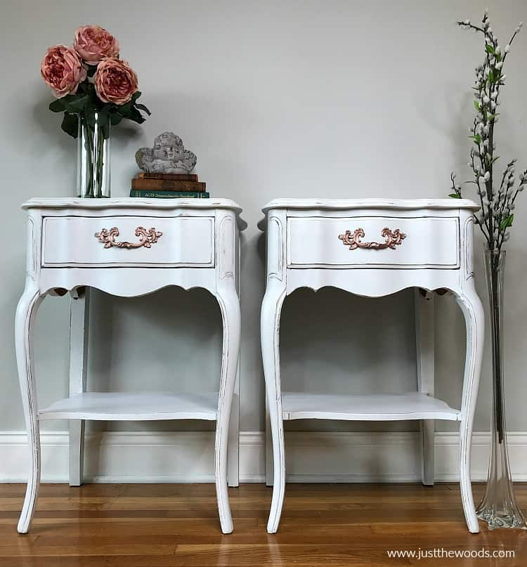 white painted tables, distressed furniture white chalk paint