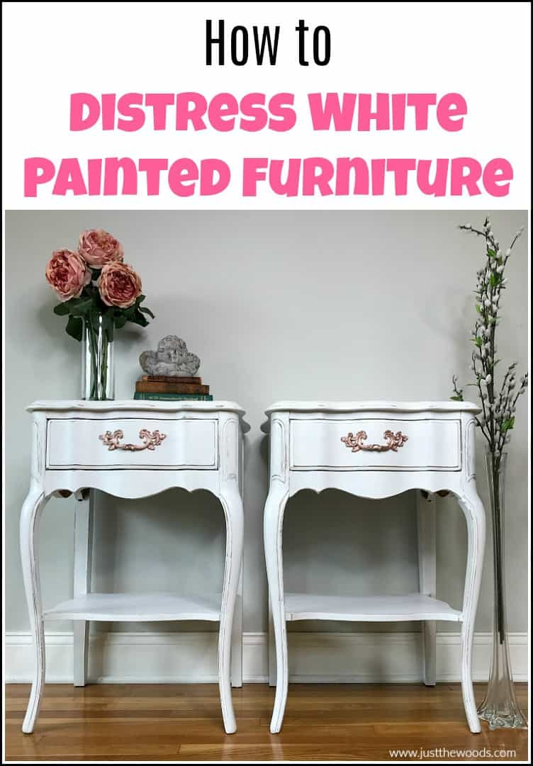 white painted tables with distressed wood paint