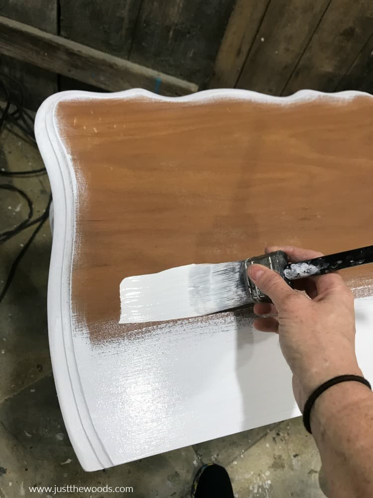 white paint on wooden table top