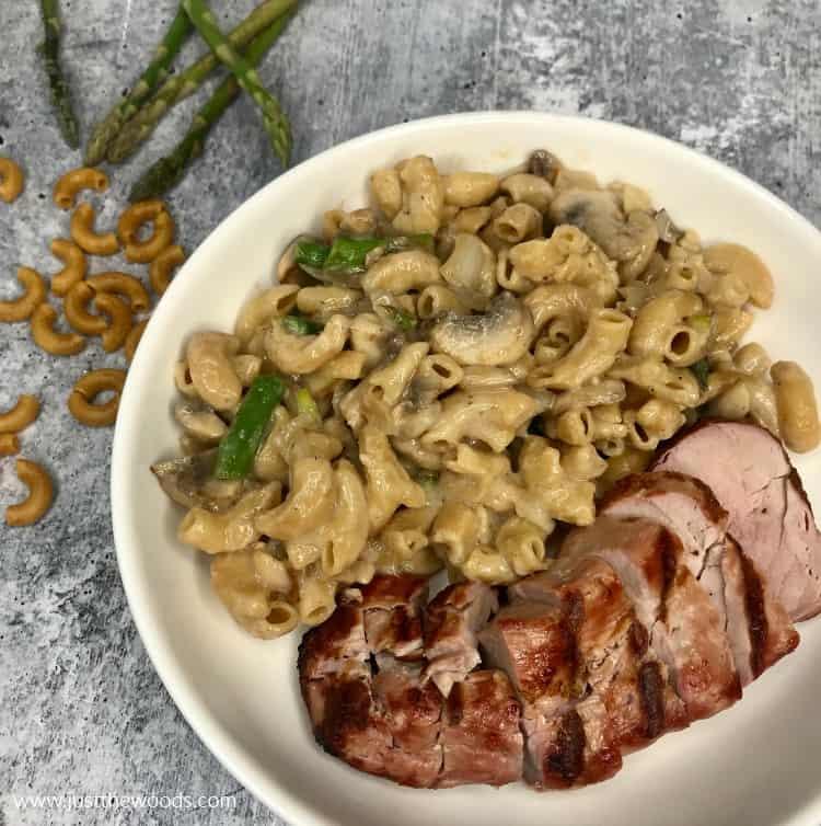 dairy free alfredo pasta with vegetables, grilled pork, veggie pasta recipe