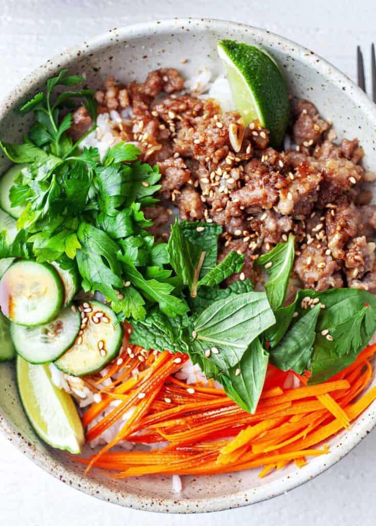 Ginger Pork Rice Bowls Recipe | SimplyRecipes.com