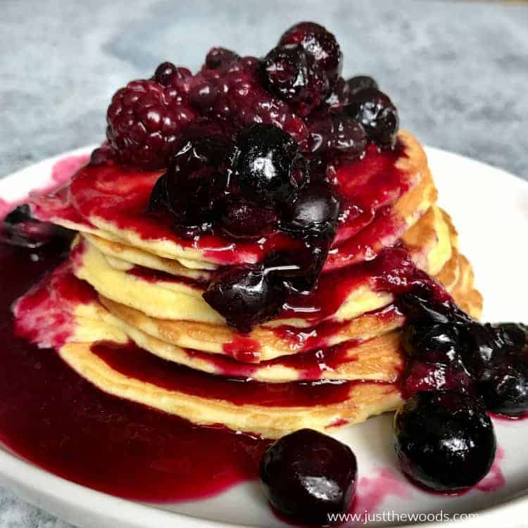 protein pancakes with blueberries and blackberries