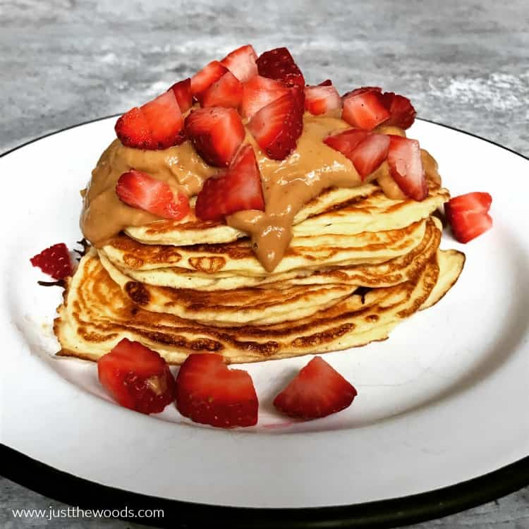 protein pancakes with strawberries