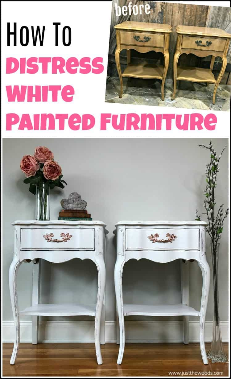 distressed furniture, white painted tables before and after