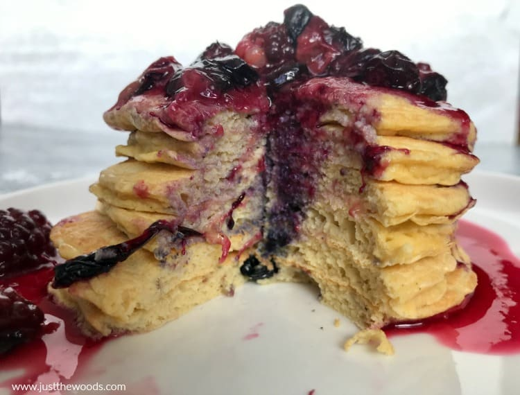 blueberry protein pancakes with berry topping